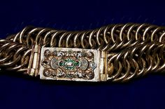 Bracelet with a stylized cartouche by Anonymous (Poland), first quarter of the 17th century, Toruń Regional Museum. Skrwilno and Nieszawa Treasure. One of a pair of similar bracelets. Hidden during invasion of the Polish-Lithuanian Commonwealth by neighbouring countries known as the Deluge (1655-1660) by the owner Zofia Magdalena Loka. #enamel #niello #gold #poland #torun #artinpl #skrwilno #polish #bracelet #stylized #cartouche #renaissance Bracelet Wrap, Bracelets, Saint George, Persian Carpet, Monogram, Pendants, Commonwealth, 17th Century, Regional