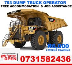SPECIAL OFFERS DUMPTRUCK NOW R 4500, ADT , Tlb R3500 , Frontend, Welding R6500, GRADER, Drill RIG,CRANES and certificate renew, EXCAVATOR R4500, . OFFices in KURUMAN, JOBURG, KLERKSDORP. , FREE Accommodation. JOB ASSISTANCE OFFERED, FULLY REGISTERED, Call us / whatsapp; +27731582436 or email us : mulanioperators@yahoo.com Drilling Rig, Six Speed, Final Drive, Torque Converter, Dump Trucks, Diesel Engine, Repair Manuals, Caterpillar, Oem