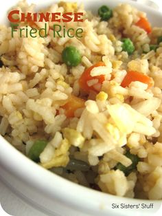 Easy Chinese Fried Rice.  The perfect side dish for an Asian inspired meal! SixSistersStuff.com