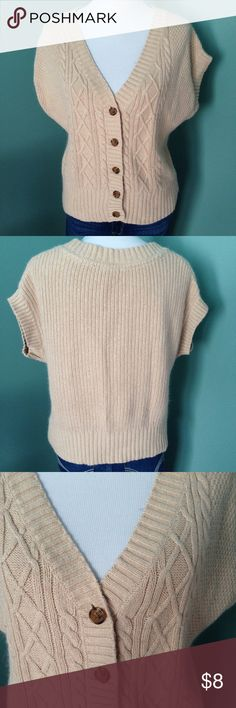 """Tommy Hilfiger cable knit top Capped sleeved, V neck top with button down front. Light brown in color. Shoulder 19"""", length 23"""" Tommy Hilfiger Tops Blouses"""