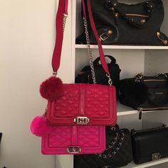 Perfect color matching #realfurpompoms #redfurpompom #pinkfurpompom  #furpompomkeychain #rebeccaminkoff #rm