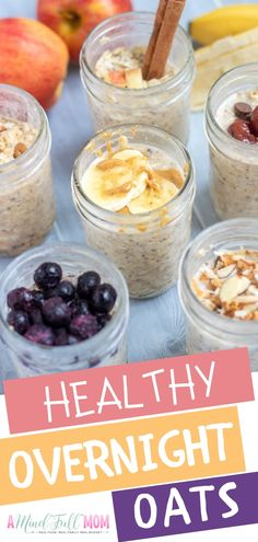 Overnight Oats are an easy make-ahead breakfast that can be customized to fit any dietary restrictions and made to please the pickiest of eaters! Detox Breakfast, Make Ahead Breakfast, Healthy Breakfast Recipes, Breakfast Ideas, Healthy Eating, Real Food Recipes, Cooking Recipes, Water Recipes, Kitchen Recipes