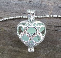Aqua Sea Glass Heart Necklace Locket Frosted Pale by WaveofLife, $20.00
