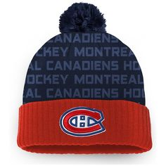 the latest 45c9f ae2f1 Men s Montreal Canadiens Fanatics Branded Red Authentic Pro Rinkside -  Cuffed Knit Hat with Pom,