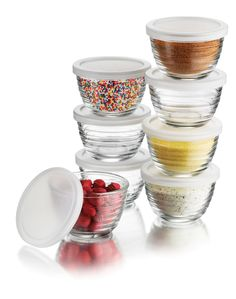 Amazon.com: Libbey 16-Piece(8 Glass bowls & 8 Lids) 6.25-Ounce Glass Bowl Set with Plastic Lid, Small, Clear: Kitchen & Dining