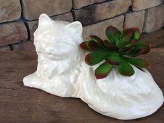 Vintage Planter White Cat Ceramic Persian Kitty by StylishPiggy, $20.00