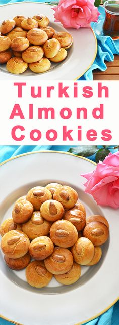 Almond Cookies with Rosewater Turkish Almond Cookies with Rosewater - So good with tea! ~ cookies, recipe, Turkey - Turkish Almond Cookies with Rosewater - So good with tea! Tea Cookies, Almond Cookies, Yummy Cookies, Turkish Cookies, Turkish Sweets, Baking Recipes, Cookie Recipes, Middle Eastern Desserts, Arabic Food