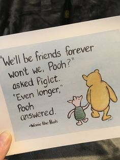 classic winnie the pooh friend quote card classic pooh friend card winnie the pooh friendship card by MoonbeamsBearDreams on Etsy Bff Quotes, Best Friend Quotes, Disney Quotes, Cute Quotes, Goodbye Friend Quotes, Friends Moving Away Quotes, Saying Goodbye Quotes, Friend Moving Away, Post Quotes