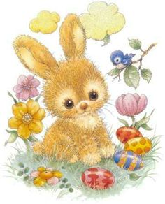 Cute Easter Bunny with Flowers and Eggs Area Rug , Easter Bunny Pictures, Cute Easter Bunny, Happy Easter, Easter Illustration, Bunny Art, Vintage Easter, Easter Crafts, Cute Art, Bunnies
