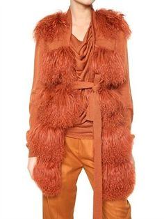 ShopStyle: Maurizio Pecoraro - Mongolian Fur And Knit Vest Fur Coat
