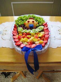 Baby Shower Fruit Tray - so cute! I'm going to have to make this for my best friends shower next month!