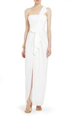 The crisp white color and goddess-draping gives this dress an effortless feel, perfect for a destination wedding � la�Nick and Vanessa's Dream Wedding. (This may or may not be perma-saved on our DVR.)BCBG Max Azria Barbara One-Shoulder Satin Evening Gown, $288, bcbg.com Barbara -Cosmopolitan.com