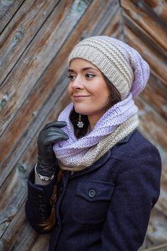 Комплект вязанный Нежный вереск, снуд вязаный и шапка с градиентом - комплект шапка и шарф