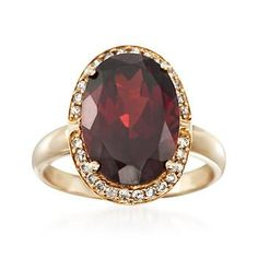8.25 Carat Garnet and .21 ct. t.w. Diamond Ring in 14kt Yellow Gold