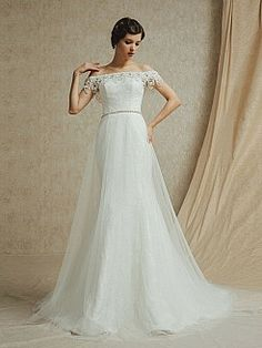 Off the Shoulder Mermaid Lace Bridal Dress with Jewelled Neckline and Waistband - USD $238.99