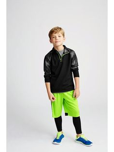 Boys Patterned-Sleeve 1/4-Zip Pullovers