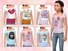 This is a set of layered print tops for the cute simmy girls. The set comes with six different printed crop tops layered on colorful tops.  Found in TSR Category 'sims 4 Female Child Everyday'