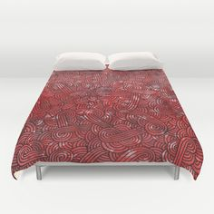 """""""Red and black arabesques"""" Duvet Cover by Savousepate - $99.00 #bedroom #bedroomdecor #duvetcover #red #black #scrolls #pattern #doodles #zentangle #abstract"""
