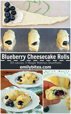 These Blueberry Cheesecake Rolls are the 5 ingredient dessert of your dreams! Tasty, easy and just 133 calories or 5 Weight Watchers SmartPoints each. www.emilybites.com