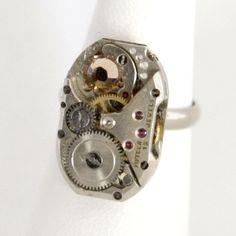 Velvet mechanism steampunk jewelry w/topaz