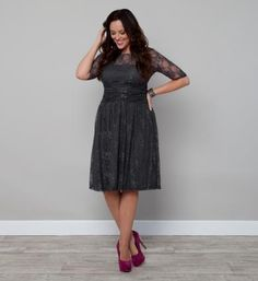 This is a new lace dress from Kiyonna (sizes 10-24 only). Available in blue, grey, and red. Available for holiday order!     #curvy #plus