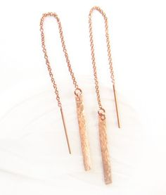 Long Rose Gold Earrings, Rose Gold Earrings, The Gold Bar, Threader, Ear Threads, Bridal Jewelry, Minimalist Modern Gift for Her