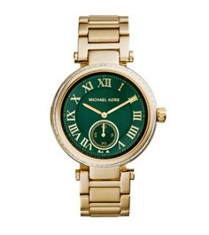 Traditional enough to be timeless, yet glamorous enough to make any outfit feel elevated, the Skylar will be your wrist's new best friend. A baguette-studded bezel surrounds a bold green face with classic Roman numerals, for a chic update to the iconic timepiece. Perfect for adding a little polish to your look—wear it with tip-to-toe white and let the vibrant color run riot.