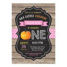 Girl Rustic Pumpkin First Birthday Invitation - autumn gifts templates diy customize