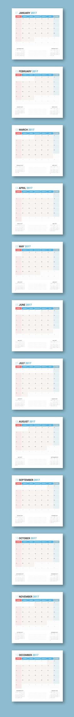 Cool Calendar 2017 Planner Design Creativework247 Fonts Graphics