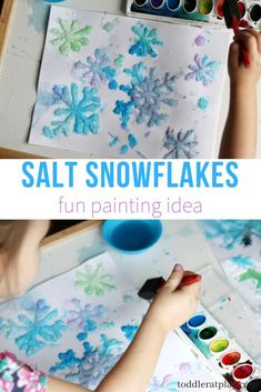 Salt Snowflakes Painting Craft (Quick Video Tutorial) - Toddler at Play - Create these beautiful snowflakes with salt and watercolors! This is a super fun winter craft you h - Winter Crafts For Toddlers, Fun Crafts For Kids, Christmas Crafts For Kids, Holiday Crafts, Arts And Crafts, Crafts For Winter, Crafts Cheap, Winter Activities For Kids, Art Crafts