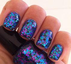 Shiny Purple & blue nail art for the Cheshire Cat