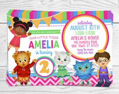Daniel Tiger Party Invitation - Pink & Purple Girl Style - 4x6 or 5x7 Inch Flat Card - YOU PRINT by MaxineReneeDesigns on Etsy https://www.etsy.com/listing/221323474/daniel-tiger-party-invitation-pink