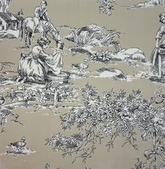La Fontaine Toile Fabric A taupe and beige cotton toile fabric depicting a traditional farmyard scene in black on taupe.