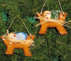 Baby Jesus in Manger Salt Dough Christmas Ornament