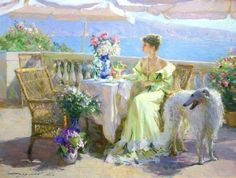 Razumov has a vibrant shimmering brushstroke plus a mastery of light and excellent draftsmanship. Faithful to early Impressionism, he nonetheless adds some modern touches which are most obvious in his beautiful charming, soft and sensuous. Razumov is at his graceful best when his subjects are young ladies.