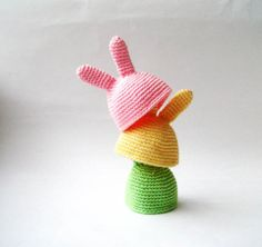 Aww! Look at these cute bunny hats from DaWanda. It would be fun to try to crochet these and use them as cozies for Easter eggs.
