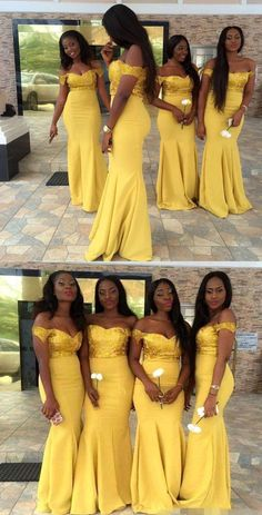 Off the Shoulder Dark Yellow Mermaid Bridesmaid Dresses with Appliques for Wedding Party The Dress Bridal Yellow Bridesmaid Dresses, Mermaid Bridesmaid Dresses, Wedding Bridesmaids, Wedding Gowns, Wedding Parties, Wedding Dresses For Maids, Mermaid Dresses, Party Gowns, Wedding Ceremony