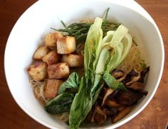 Rice Noodles with Marinated Tofu and Shiitake Mushrooms