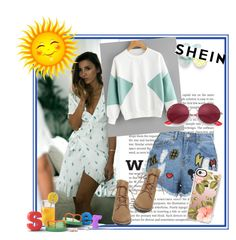 """""""Shein contest!"""" by albinnaflower ❤ liked on Polyvore featuring Disney Stars Studios, Steve Madden, Casetify and Ray-Ban"""