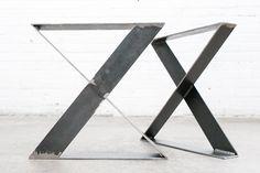 """16"""" X-Style Flat Steel Legs - Raw Steel"""