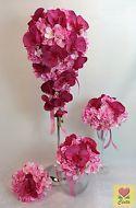 Silk Flower Red Orchid L/Pink Hydrangea Flowers Bridal Wedding Bouquet Set