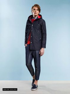 #BRIANDALES #MAN #COLLECTION #SS2016, parka with contrasting lining, striped sweater and tight pants to the ankle.