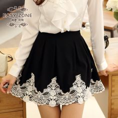Lace on pleated skirt