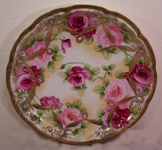 Fabulous Vintage Nippon Plaque Hand Painted Roses from yas1 on Ruby Lane