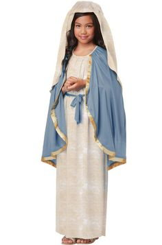 The Virgin Mary Girls Nativity Costume - Make your Nativity play a special one with this children's Virgin Mary costume. The Kids Virgin Mary costume includes a beige dress with an attached light blue cape. The dress is sleeveless and has an attached blue belt around the waist. The headpiece is made of a matching beige fabric. This Kids Virgin Mary costume is wonderful for Nativity Plays. It would also work well as a Greek or Roman costume at Halloween. #yyc #calgary #costume #Nativity
