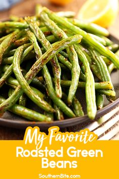 This recipe for roasted green beans is my family's most favorite way to serve up a quick and easy side with virtually no clean up! The flavors of Greek seasoning smoked paprika and lemon are just perfect on the tender but crisp green beans! Cooking Recipes, Healthy Recipes, Cooking Gadgets, Cooking Utensils, Cooking Tools, Cooking Ideas, Snack Recipes, Snacks, Great Recipes