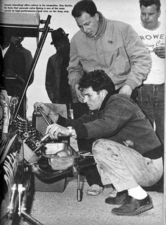 Connie Kalitta (standing with coat) and Don Garlits (kneeling)
