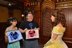 disney characters gender reveal guessing game - take pictures with each character and have them pick if they think you're having a boy or a girl. Then at the baby shower, have guests guess who voted for what!