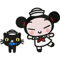 hhm navy pucca and black cat with a fish in its mouth hhm