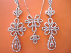 Glamorous Rhinestone Necklace and Chandelier by BlueJBridal, $69.00